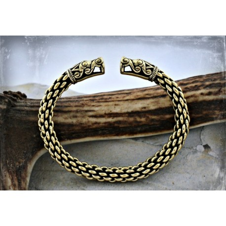 Thick viking bracelet with dragon head, Viking Emporium